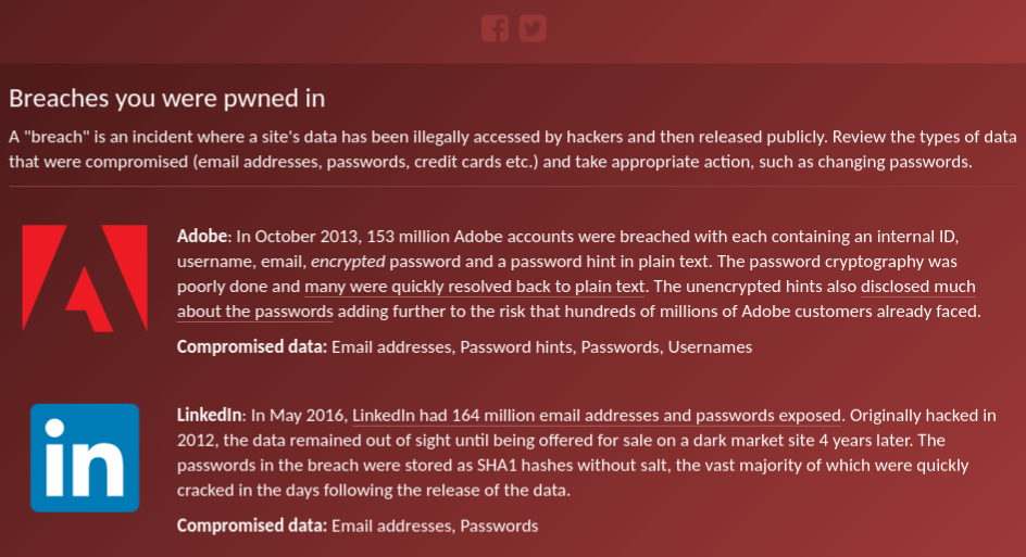 Have I Been Pwned Check if your email has been
