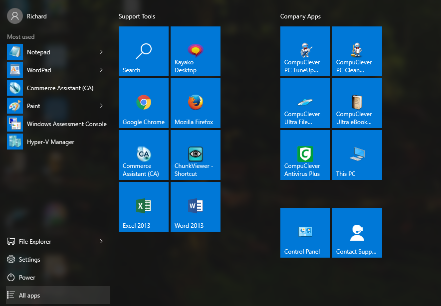 windows 10 new start